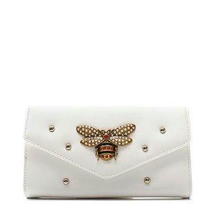 Handbags - Rhinestone Bee and Stud Clutch